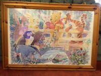 Large Winnie the Pooh picture in Wooden frame