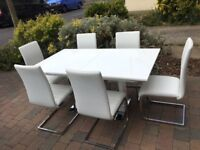 Tokyo & Perth Extending White High Gloss Dining Table- 8 Chairs Set - White A*