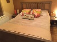 King size bed+ mattress + two bedside tables + slate base £200 ono