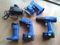 18v Drill driver/ jigsaw/ sander/ torch tool combo kit by Evolution.