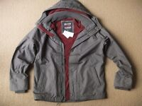 ( New with tag ) Hollister Guys / Men's Grey All-weather Fleece Lined Jacket, size S or M - £25