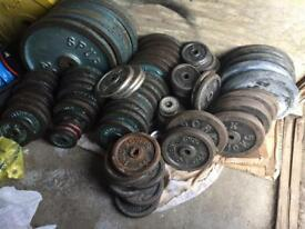 "Iron weights £1 per 1kg (1"" plates)"