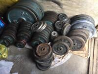 """Iron weights £1 per 1kg (1"""" plates)"""