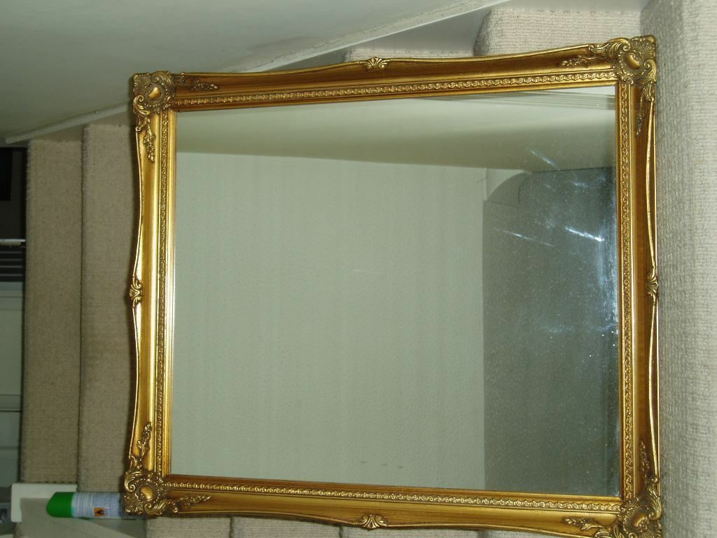 Large Round Gold Mirror: Ornate Gold Framed Wall Mirror