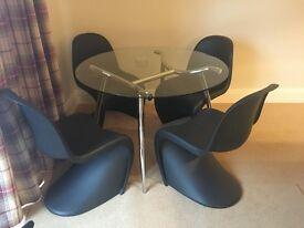 Retro/Designer Genuine Vitra Panton 'S' Chairs Black x 4 with Glass Dining Table