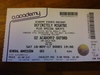 OASIS TRIBUTE OXFORD O2 Definitely Mightbe 1x ticket 18/11