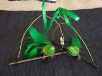 2 x LARGE Shangri-La Bird Tree Decorations plus Glitter Twigs & Flower