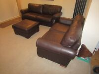 Top quality Reid furniture 3 & 2 seater real leather sofa and footstool chocolate Brown