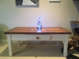 Beautiful refurbished solid wood table finished with rosewood gloss varnish