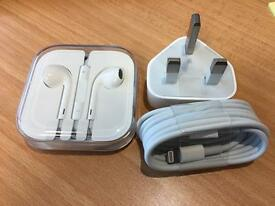 Apple Headphone, Lightning USB Cable & Charger Head