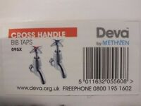 Deva 095X Cross Handle Wall Mounted Chrome Basin Bib Taps