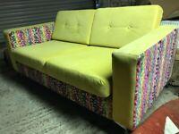 Green or Yellow Velvet covered designer sofas couch colourful chrome legs sofa