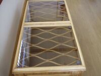 Cane table with glass top ex Fersina