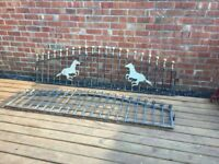 Pair Of Ball Topped arched Wrought Iron Railings / Wall Toppers- delivery available