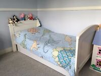 Mamas and Papas Hayworth Cot Bed/Toddler Bed, under bed drawer storage, and spare mattress cover