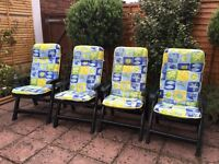 Jardin 4 Reclining Garden Chairs with Cushions