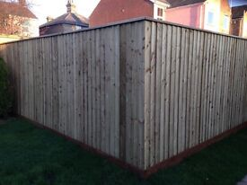 New feather edged fencing boards and fence posts