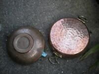 2 BRASS AND COPPER JAM POTS 10X2 INCHES