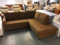 TOFFEE COLOURED FABRIC SOFA WORKSHOP CORNER SOFA IN GOOD CONDITION
