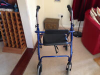Rollator in Blue with Seat and Brakes. Excellent Condition