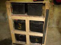 6 x12 volt storage batteries and inverter transformer