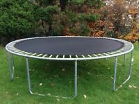 8ft trampoline, safety cushions (not in pic) but no net, all springs, will fit in car
