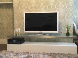 Dwell Tv Unit with Floating shelf Gloss White