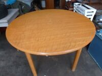 Large Round Solid Light Wood Dining Kitchen Table Retro