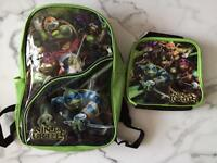 RARE Teenage Mutant Ninja Turtles Backpack and Smaller Lunch Bag