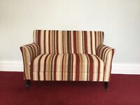 Small strip sofa. Cord in red, mustard yellow and cream/linen. Ideal for bedroom or playroom.