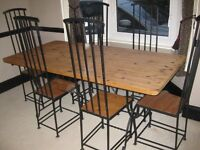Iron frame oak table + 6 chairs