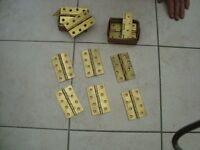 8 PAIRS BRASS BUTT HINGES AND 3 CHROME BALL BEARING HINGES
