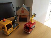 Peppa pig grandad lorry fireman Sam fire engine and fire station
