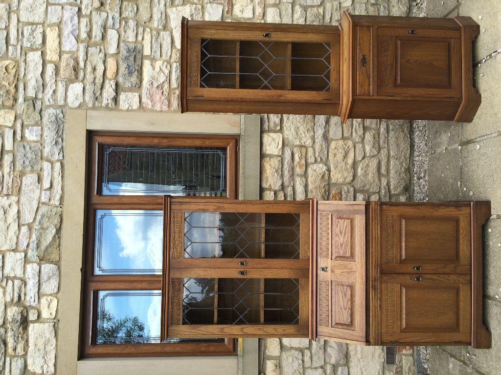 New plan solid medium oak glass front bureau corner unit