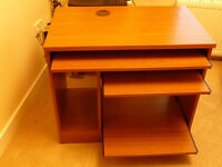 Teak effect computer desk with 3 sliding shelves