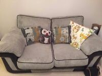 ScS Grey Two Seater Fabric Sofa in Excellent Condition