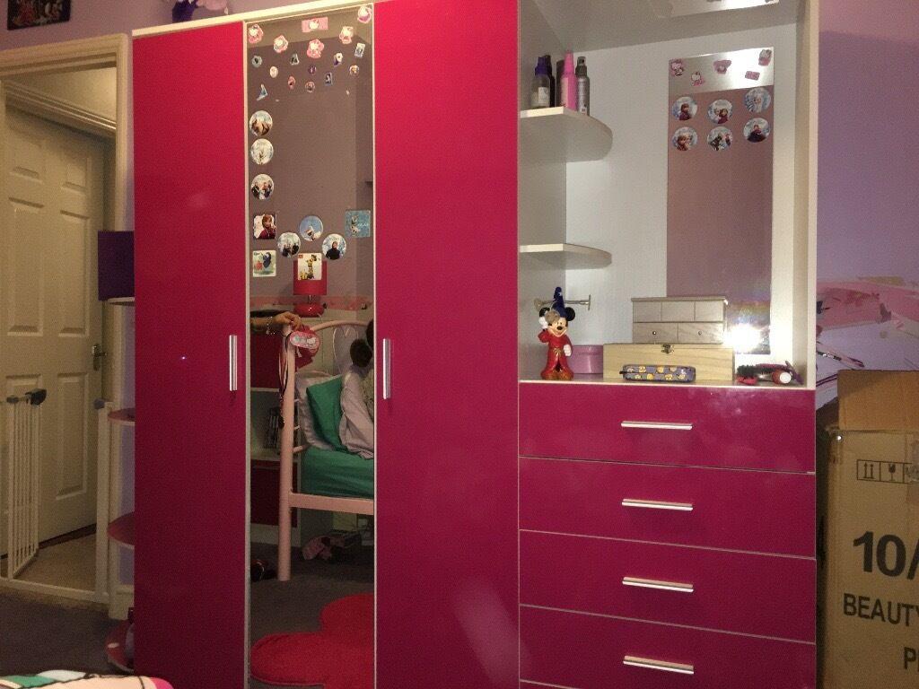 Pink High Gloss Triple Wardrobe Amp Storage Unit In
