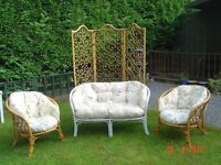 Cane / Bamboo Conservatory Furniture Two Seater, Pair of Chairs and a Bamboo Screen. Can Deliver.