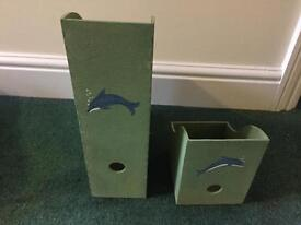 Filing boxes with dolphins