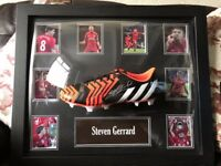 Hand Signed Steven Gerrard Football Boot Framed With Certificate of Authenticity