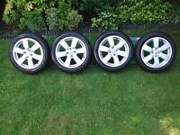 "Genuine Nissan Micra Note Cube 4 x 16"" Alloy Wheels, Tyres & Centre Caps"
