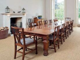 Antique Table & Chairs Victorian Mahogany 14 ft Dining Table & 12 Chippendale Chairs