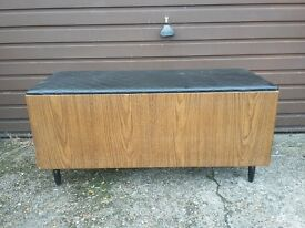 vintage retro ottoman clothes storage chest or hall seat