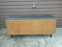 vintage retro ottoman clothes storage chest or hall seat