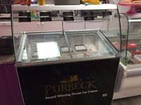 Ice-cream freezer with glass over counter display