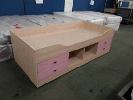 Girls Single Bed Wooden Frame and Drawers. Delivery Available