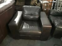 Dark brown leather armchairs as new