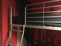 Metal high sleeper single bed