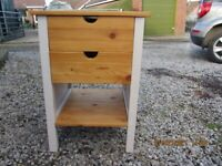 Solid wood table/cupboard with two drawers. Sides beige Top, shelf and drawers natural wood