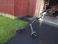3 wheel black Masters golf trolley in very good condition only used three times